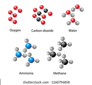 illustration of chemistry, Carbon dioxide, Ammonia, Water, Oxygen, Methane 3d   element models