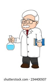 illustration of a chemistry or scientist on white background isolated