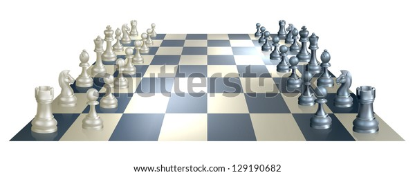 An illustration of a chess board and pieces in perspective at the opening of a chess game