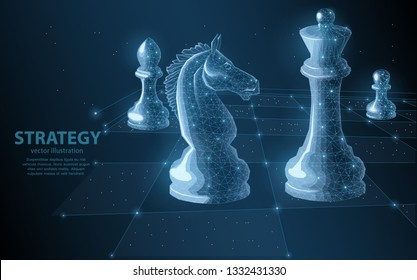 Illustration of a chess game in the foreground a knight and queen in the back pawn and an bishop. Symbol of strategy, tactics, calculation of the actions of the enemy, in the game of sports or busines