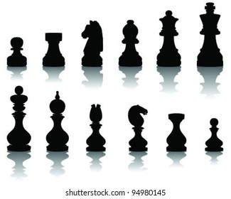 illustration  of chess pieces, vector