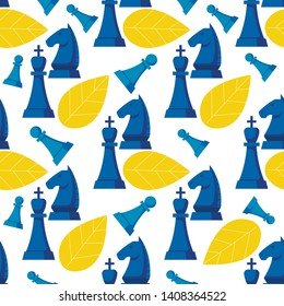 Illustration Chess Strategy Game Pattern Seamless. Metaphor that Describes an Ideal Team, Striving for Growth and Victory. Formulation Goal to which Members Team Aspire. Cartoon Vector.