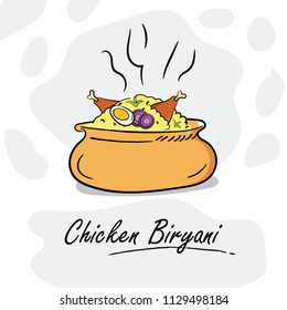 Illustration Of Chicken Biryani, Indian Cuisine