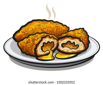 illustration of the chicken kiev cutlets on the plate