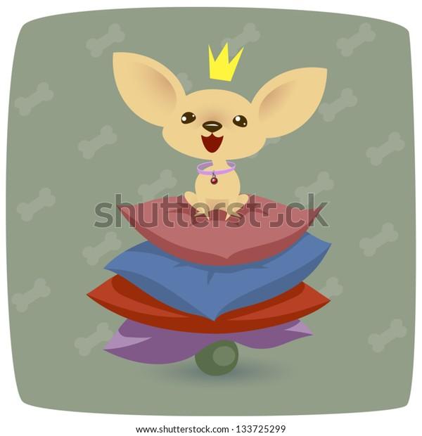 illustration of a chihuahua princess on pillows