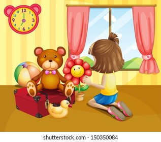 Illustration of a child arranging her toys inside the house