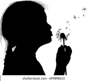 illustration with child blowing on dandelion isolated on white background