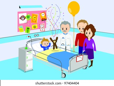 Illustration of child getting good news from a doctor in hospital. All vector objects and details are isolated and grouped. This illustration is a part of a story about a child in hospital.