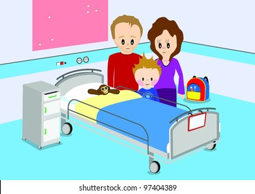 Illustration of a child with his parent standing by hospital bed. All vector objects and details are isolated and grouped. This illustration is a part of a story about a child in hospital.