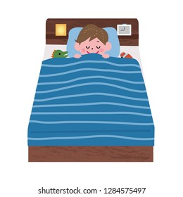 Illustration of a child sleeping in bed