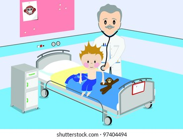 Illustration of a child that gets a by medical examination by a doctor. All vector objects and details are isolated and grouped. This illustration is a part of a story about a child in hospital.