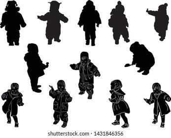 illustration with child in winter dress silhouettes collection isolated on white background