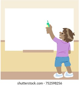 illustration of child writing on blackboard