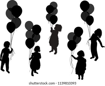 illustration with children and balloons isolated on white background