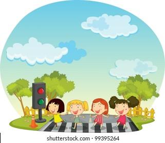 Illustration of Children crossing the street