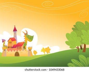 Illustration for children with fairytale castle and dragon.