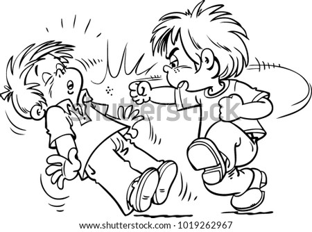 Illustration Children Fighting Over Stock Vector Royalty Free
