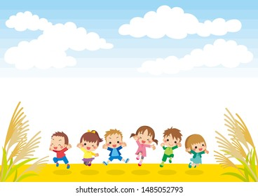 Illustration of children jumping under the autumn sky.