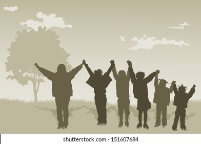 illustration of Children Kids With Hands Up.