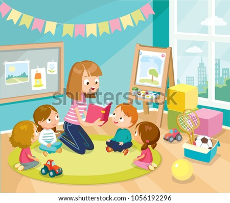 illustration with children in a kinder garden - Kinder Garden