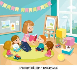 Illustration with children in a kinder garden. Reading books for kids. Babysitting.
