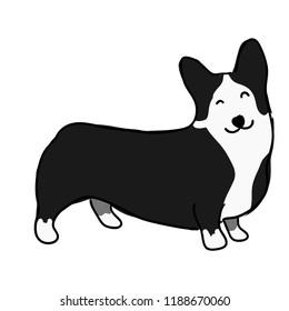 Illustration for children. Lovely black and furry dog, breeds of welsh corgi. Decorative breeds of dogs.