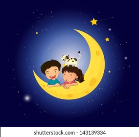 Illustration of the children on the moon with a cat