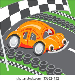 Illustration for children: An orange racing car speeding on a racing track