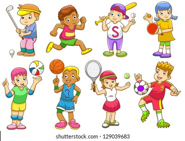 illustration of children playing different sports.  EPS8 File - no Gradients, no Effects, no mesh, no Transparencies.