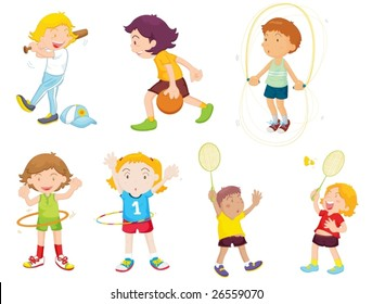 an illustration of children playing different sports