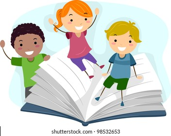 Illustration of Children Playing with a Giant Book
