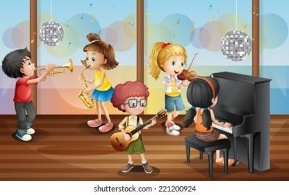 Illustration of children playing music instrument