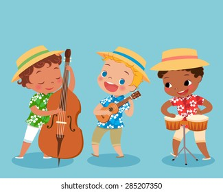 illustration of children playing music instrument in hawaii shirt. boy playing bongo drum. boy playing ukulele. boy playing double bass.
