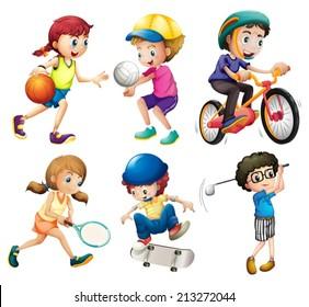 Illustration of children playing sports