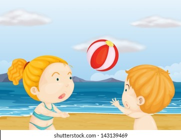 Illustration of the children playing volleyball at the beach