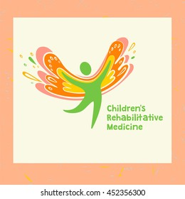 Illustration for children rehabilitation medicine and center. Vector logo depicting the silhouette of a healthy, happy child.