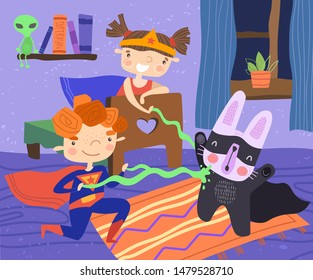 Illustration of children sitting in bedroom wearing superhero costumes while blasting rabbit with green energy beams