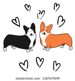 Illustration for children. Illustration for Valentine's day. Lovely furry doggies of welsh corgi. Decorative breeds of dogs. Two loving dogs on a background of black hearts.