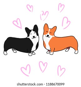 Illustration for children. Illustration for Valentine's day. Lovely furry doggies of welsh corgi. Decorative breeds of dogs. Two loving dogs on a background of pink hearts.