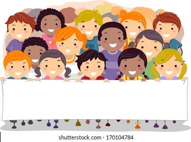 Illustration of Children Walking Together While Holding a Blank Banner