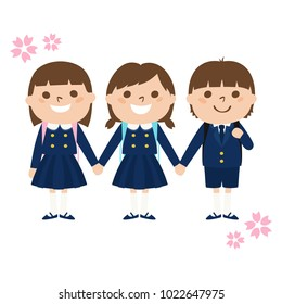 Illustration of children who became first grade primary school students.