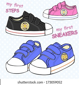 illustration of children's cute sneakers without shoelace (classic design) with embroidery and inscription.