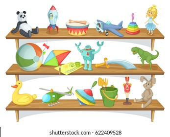 Illustration of childrens store with funny cartoon toys on shelves. Vector set of toys. Wooden shelf with toys pyramid and rocket, dinosaur and rabbit