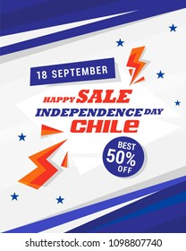 Illustration of Chile Independence day celebration flag abstract design background