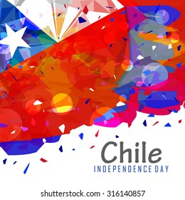 Illustration of Chile Independence day celebration flag abstract design background