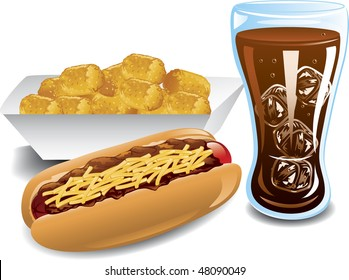 Illustration of a chili dog, cola and tater tot meal