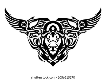 illustration of a chimera head tattoo in isolated white background