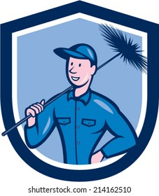Illustration of a chimney sweep holding sweeper set inside shield crest on isolated background done in cartoon style.