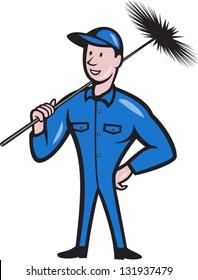 Illustration of a chimney sweeper cleaner worker with sweep broom viewed from front done in cartoon style.