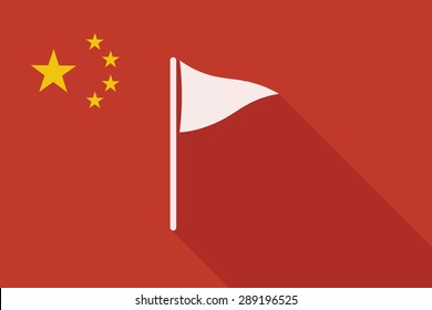Illustration of a China long shadow flag with a golf flag